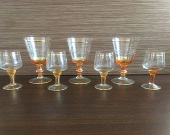 Vintage drinking glasses - Set of 7 Sherry Glasses - Colored glasses - beautiful glasses - Champagne glasses