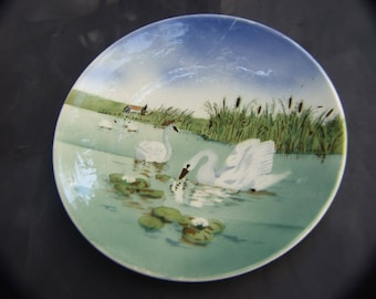 Vintage Pottery Wall Plate/Charger with White Swan's Design C.1920'S