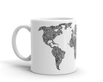 World Map Mug, Dishwasher Safe Mug, Microwaveable Mug, Traveler Mug, Coffee Map Mug, Coffee Map Cup, Tea Cup World Map, Travelers Cup,