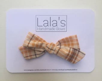 Handtied Fall Plaid Bow - size Large