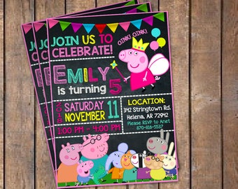 Peppa Pig Invitation, Peppa Pig Invite, Peppa Pig Birthday, Peppa Pig Party, Peppa Pig Printable, Peppa Pig Card, Peppa Pig Digital