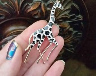 Enamel brooch pin giraffe gold tone black enamel
