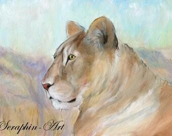 Lioness Wildlife Original Acrylic Painting