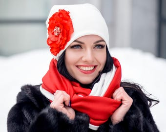 White Set Hat with Red Flower and Infinity Scarf Large Wraparound Warm Winter Beanie Neckwarmer Scarf Christmas Gift For Her