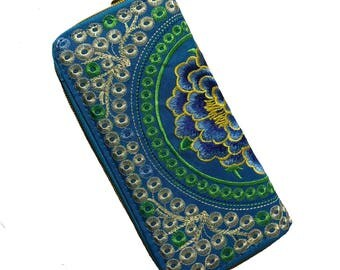 Embroidered Wallet/Peony Clutch Wallet