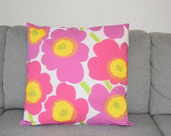 "New Handmade Marimekko Unikko Pink and White Floral  pillow case, cushion cover 18"" 45 cm and 20"" 50cm, Design Finland"