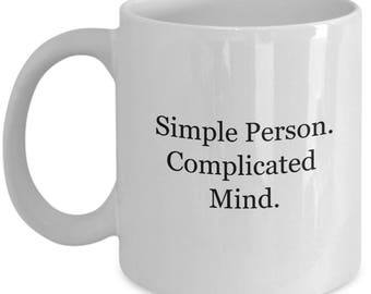 complicated mind, thinker, thinking too much, bff gift, girlfriend gift, gift for thinker, nerdy gift, geeky gift, girl power, tea mug