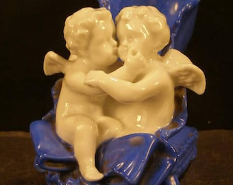 19c Victorian Meissen Dresden German Porcelain Cherub Figure Slipper Shoe Statue