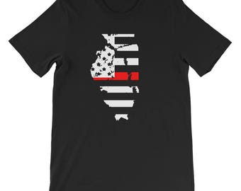 Thin Red Line Firefighter Flag illinois R.E.D T-Shirt - Illinois t-shirt - Illinois state shirt - Illinois home t-shirt - home shirt - state