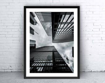 Printable Poster, Art, Living room Decor, Large Printable Poster, Digital Download, City, Black & White