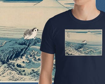 "Katsushika Hokusai ""Hedgehog Views Mount Fuji"" (1828) Short-Sleeve Hedgehog T-Shirt Japanese ukiyo-e style Hedgehog Art by Urchin Wear"