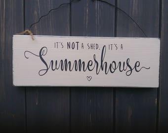 Summerhouse wooden sign.