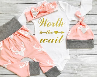 Newborn Girl Take Home Outfit, Baby Girl Going Home Outfit, Newborn Baby Girl Clothes, Baby Gifts Girl, Baby Clothes Worth The Wait