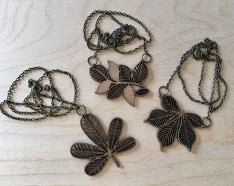 Wood laser cut fall necklaces