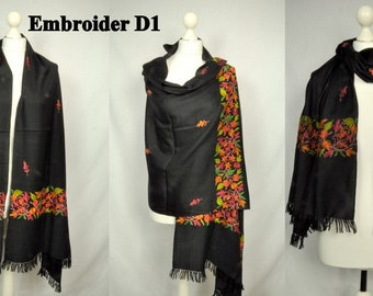 Embroider Wool Scarf, Handwoven Scarves, Natural Fibre Scarves, Women Scarf, Luxurious Scarf, Handloom woven Scarves, Stole, Shawl