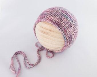 Evermore Bonnet, newborn photography prop, knit bonnet prop