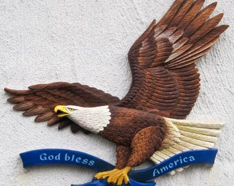Flying Eagle Wall Plaque  – Folk Art Carving