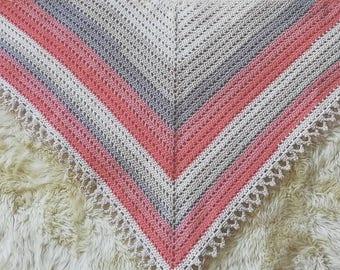 Handmade Crocheted Shawl/Triangle Scarf