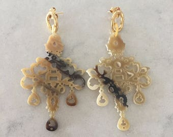 18k Yellow Gold plated Horn Chandelier Earrings