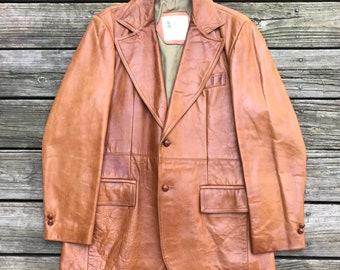 LONDON FOG Vintage Cognac Brown Leather Jacket Men's 42R