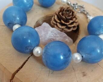 Upcycled Blue Chunky Bracelet