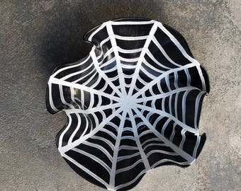Recycled Vinyl Record Bowl: Spider Web