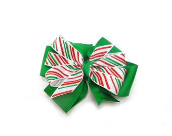 Green Candy Stripe Hair bow, Christmas Hair Bow, Girl's Christmas Bow, Green Holiday Hair Bow, Candy Stripe Holiday Bow, Green Hair Bow