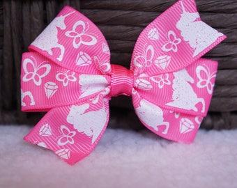 Unicorn Hair Bow, Pink Hair Bow, Toddler Hair Bow, Baby Hair Bow, Unicorn, Hair Accessory, Alligator Clip, Hair Bow, 3 Inch Hair Bow