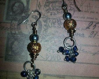 Blue n gold earings