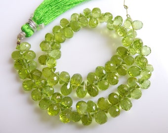 Peridote,Drops Faceted , Beads, Size- 4x7 MM, Natural Peridote, Drops, Beads, AAA Quality, Bead, Natural Gemstone, 8.5 INCH