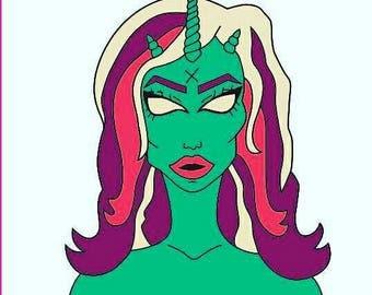 HAT PIN Regular Hard enamal Shedevil unicorn demon bat alien space 1.75