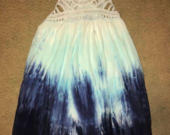 Tie Dye Blue Ombré Babydoll Dress