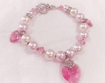 Heart Charm Pearl Bracelet