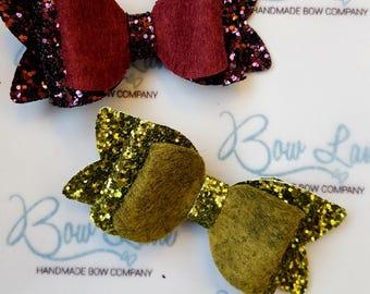 Handmade felt/glitter small bows