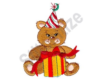 Teddy Bear With Present - Machine Embroidery Design
