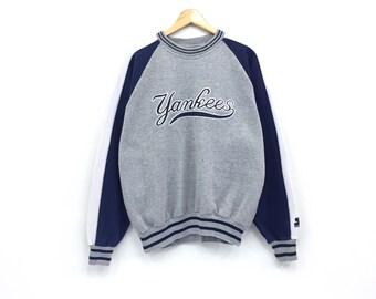 Rare!!Vintage Starter Yankees Sweatshirt Major League Baseball New York Yankees Biglogo spellout embroidery pullover jumper
