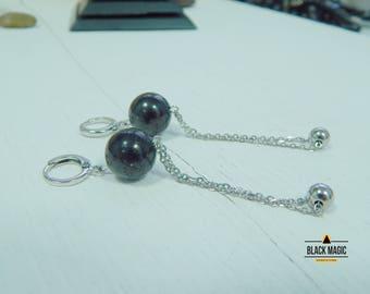 Shungite Earrings Polished Round spheres karelian shungite emf magic stone chakre balancing