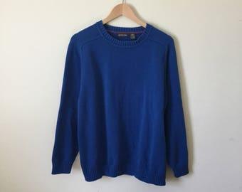 Vintage Cotton Knit Sweater - Blue