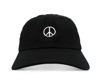 Peace Sign Six Panel Unstructured Baseball Cap Dad Hat