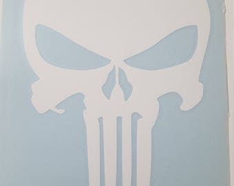 White Punisher Skull Decal
