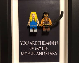 Game of Thrones, Lego, Lego frames, Daenearys, valentine, gift for him, anniversary, birthday, anniversary inspired by LEGO