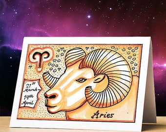 Astrological birthday cards, unique designs, original artwork