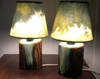 2 bedside lamps, table, reading, handmade wooden, abat-jour, artistic lamps, wooden lamps