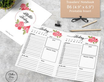 B6 Printable Inserts, B6 Inserts, B6 Daily Planner, B6 TN, Today Planner Printable, TN Daily Insert, Undated Daily Planner, Hello Planners