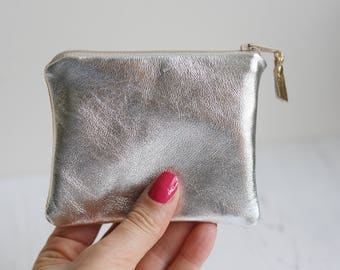 Silver and Gold purse - Soft leather purse - Metallic card holder - Birthday gift her - Gold coin purse - Mini Silver purse - Two tone purse