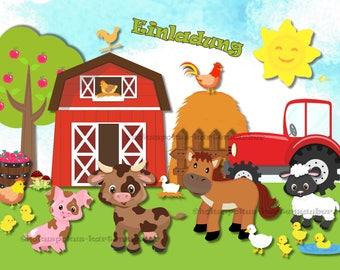 8 Einladungskarten Bauernhof Geburtstag Kinder Kindergeburtstag Einladungen  Farm Tiere Pferde Kühe Schafe Traktor Natur