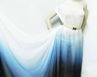 Ombre blue to white printed 30D Polyester Poly Silky Patterned Chiffon Fabric Material For Dress Cloth Skirt scarf 30D-42114  By The Yard