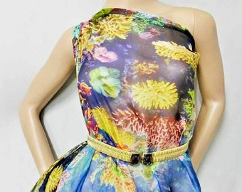 "Pure Silk Gorgeous ""Coral Fish Sea"" Pattern Digital Print 6mm Pure Silk Chiffon Fabric material sheer (dpc-Yard33014 Yards or Meters"
