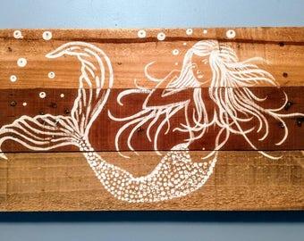 Mermaid painting on pallet wood