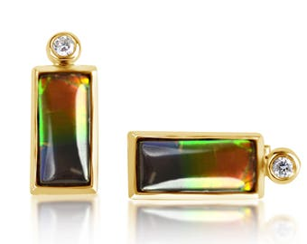Bar Shaped 14K Yellow Gold Stud Earrings with Canadian Ammolite and Diamonds.